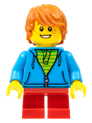 NEW Lego City FEMALE MINIFIG Girl Torso w//Long Orange Hair Short Purple Legs