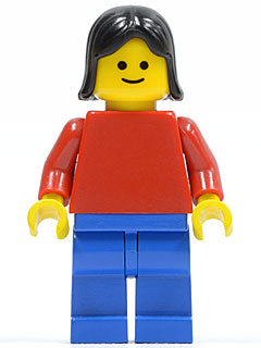 LEGO® Minifig hor006 Horizontal Lines Red White Arms Blue Legs