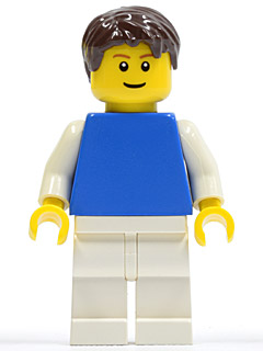 LEGO-MINIFIGURES CITY//TOWN MALE WITH SUNSET /& PALM TREES TOP AND TOUSLED HAIR