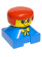 Minifig No: 2327pb03  Name: Duplo 2 x 2 x 2 Figure Brick, Blue Base with Yellow Bow, Yellow Head, Red Female Hair