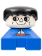Minifig No: 2327pb04  Name: Duplo 2 x 2 x 2 Figure Brick, Blue Base with Sailboat Pattern, White Head with Freckles, Black Male Hair