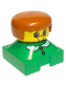 Minifig No: 2327pb06  Name: Duplo 2 x 2 x 2 Figure Brick, Green Base with White Collar and Red Heart Buttons, Yellow Head, Dark Orange Female Hair