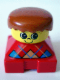 Minifig No: 2327pb08  Name: Duplo 2 x 2 x 2 Figure Brick, Red Base with Blue Argyle Sweater Pattern, Yellow Head with Freckles on Nose, Dark Orange Male Hair