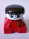 Minifig No: 2327pb09  Name: Duplo 2 x 2 x 2 Figure Brick, Red Base with Number 1 Race Pattern, White Head, Black Male Hair