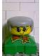 Minifig No: 2327pb11  Name: Duplo 2 x 2 x 2 Figure Brick, Grandmother, Green Base, Gray Hair, Yellow Face
