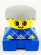Minifig No: 2327pb13  Name: Duplo 2 x 2 x 2 Figure Brick, Blue Base with Yellow Argyle Sweater Pattern, Yellow Head with Moustache, Light Gray Male Hair