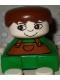 Minifig No: 2327pb17  Name: Duplo 2 x 2 x 2 Figure Brick, Green Base with Brown Overalls, Brown Hair, White Head