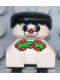 Minifig No: 2327pb18  Name: Duplo 2 x 2 x 2 Figure Brick, Clown, White Base, Green Bow with Red Dots, Black Hair, White Face with Red Nose