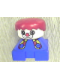 Minifig No: 2327pb19  Name: Duplo 2 x 2 x 2 Figure Brick, Clown, Blue Base with Button Suspenders, White Head, Red Male Hair