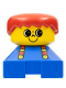 Minifig No: 2327pb20  Name: Duplo 2 x 2 x 2 Figure Brick, Blue Base with suspenders, yellow head with smile and freckles above nose, red male hair