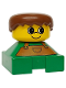 Minifig No: 2327pb22  Name: Duplo 2 x 2 x 2 Figure Brick, Green Base with Brown Overalls, Brown Hair, Yellow Head