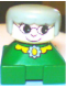 Minifig No: 2327pb23  Name: Duplo 2 x 2 x 2 Figure Brick, Grandmother, Green Base, Gray Hair, White Head, Yellow Collar with Flower