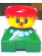 Minifig No: 2327pb25  Name: Duplo 2 x 2 x 2 Figure Brick, Clown, Green Base with White Collar, Yellow Head with Red Nose, Red Hair