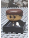 Minifig No: 2327pb27  Name: Duplo 2 x 2 x 2 Figure Brick, Black Base with Police Pattern, Yellow Head, Brown Male Hair