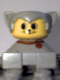 Minifig No: 2327pb31  Name: Duplo 2 x 2 x 2 Figure Brick, Cat, Light Gray Base With Red Collar, Light Gray Hair With Ears, Yellow Face with Round Eyes and 2 Whiskers
