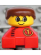 Minifig No: 2327pb32  Name: Duplo 2 x 2 x 2 Figure Brick, Red Base With Number 1 Race Pattern, Yellow Head, Brown Male Hair