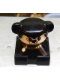 Minifig No: 2327pb34  Name: Duplo 2 x 2 x 2 Figure Brick, Dog, Black Base with Collar, Black Hair with Ears, White Dog Face