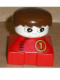Minifig No: 2327pb35  Name: Duplo 2 x 2 x 2 Figure Brick, Red Base with Number 1 Race Pattern, White Head, Brown Male Hair
