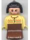Minifig No: 31181pb03  Name: Duplo Figure, Female Lady, Brown Dress, Yellow Top, Black Hair (American Indian)