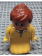 Minifig No: 31181pb05  Name: Duplo Figure, Female Lady, Yellow Dress, Yellow Top, White Collar and Dark Pink Brooch