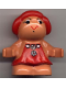 Minifig No: 31231pb01  Name: Duplo Figure Little Forest Friends, Female, Red Dress with Two White Flowers Down (Lolly Strawberry)