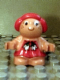 Minifig No: 31231pb03  Name: Duplo Figure Little Forest Friends, Female, Red Hair, Red Dress with Two White Flowers Across (Sugar Strawberry)