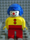 Minifig No: 4555pb001  Name: Duplo Figure, Male Clown, Red Legs, Yellow Top with 2 Buttons, Yellow Arms, Blue Aviator Helmet