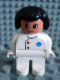 Minifig No: 4555pb016  Name: Duplo Figure, Female Medic, White Legs, White Top with EMT Star of Life Pattern, Black Hair