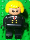 Minifig No: 4555pb019  Name: Duplo Figure, Female, Black Legs, Red Tie and Black Suit, Yellow Hair