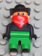 Minifig No: 4555pb024  Name: Duplo Figure, Male, Green Legs, Black Top, Red Scarf, Cowboy Hat (Western Bad Guy)