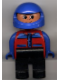 Minifig No: 4555pb029  Name: Duplo Figure, Male, Black Legs, Red and Blue Zippered Jacket, Blue Racing Helmet