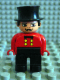 Minifig No: 4555pb036  Name: Duplo Figure, Male, Black Legs, Red Top, Top Hat (Circus Ringmaster)