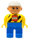 Minifig No: 4555pb038  Name: Duplo Figure, Male, Blue Legs, Yellow Top with Black Stripes and Lego Logo, Construction Hat White