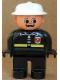 Minifig No: 4555pb043  Name: Duplo Figure, Male Fireman, Black Legs, Black Top with Fire Logo and Zipper, White Fire Helmet, Moustache