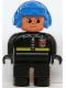 Minifig No: 4555pb044  Name: Duplo Figure, Male Fireman, Black Legs, Black Top with Fire Logo and Zipper, Blue Aviator Helmet