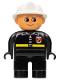 Minifig No: 4555pb045  Name: Duplo Figure, Male Fireman, Black Legs, Black Top with Fire Logo and Zipper, White Fire Helmet