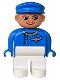 Minifig No: 4555pb046  Name: Duplo Figure, Male, White Legs, Blue Top (Airplane Jetliner Pilot)