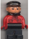 Minifig No: 4555pb051  Name: Duplo Figure, Male, Black Legs, Red Top with Pockets (Intelli-Train Red Conductor)