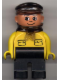 Minifig No: 4555pb052  Name: Duplo Figure, Male, Black Legs, Yellow Top with Pockets (Intelli-Train Yellow Conductor)