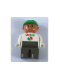 Minifig No: 4555pb056  Name: Duplo Figure, Male, Dark Gray Legs, White Top with Octan Logo, Green Helmet