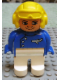 Minifig No: 4555pb057  Name: Duplo Figure, Male, White Legs, Blue Top with Plane Logo, Yellow Aviator Helmet, (Pilot)