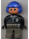 Minifig No: 4555pb060  Name: Duplo Figure, Male Police, Dark Gray Legs, Black Top with Zipper, Tie and Badge, Blue Aviator Helmet