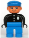 Minifig No: 4555pb061  Name: Duplo Figure, Male Police, Blue Legs, Black Top with 3 Buttons and Badge, Blue Hat