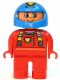 Minifig No: 4555pb065  Name: Duplo Figure, Male, Red Legs, Red Top with Cat Eye Racer Logo, Blue Helmet
