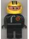 Minifig No: 4555pb067  Name: Duplo Figure, Male, Black Legs, Black Top with White Zipper and Racer #1, Yellow Helmet with Black Stripes