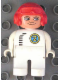 Minifig No: 4555pb069  Name: Duplo Figure, Male, White Legs, White Top with Black Zipper and Racer #2, Red Aviator Helmet