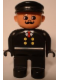 Minifig No: 4555pb075  Name: Duplo Figure, Male, Black Legs, Black Top with 4 Yellow Buttons and Red Tie, Black Hat, Curly Moustache (Train Engineer)