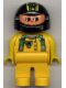 Minifig No: 4555pb083  Name: Duplo Figure, Male, Yellow Legs, Yellow Top with Green Racer Suspenders, Black Helmet with Stripes and Bear Pattern