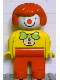 Minifig No: 4555pb085  Name: Duplo Figure, Female Clown, Red Legs, Red Hair
