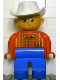 Minifig No: 4555pb087  Name: Duplo Figure, Male, Blue Legs, Red Top Plaid, White Cowboy Hat